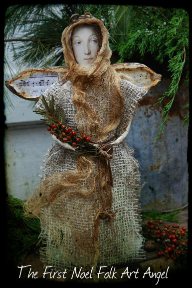 The First Noel Folk Art Angel