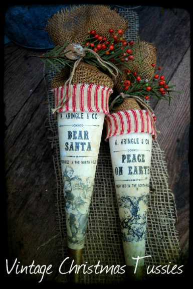 1800's Vintage Christmas Tussie Dear Santa & Peace of Earth