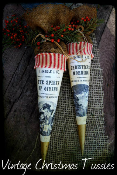 1800's Vintage Christmas Tussie The Spirit of Giving & Christmas Morning