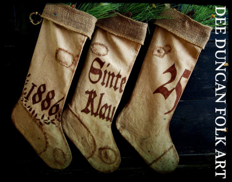 1886 Pennsylvania Dutch Grain Sack Stockings