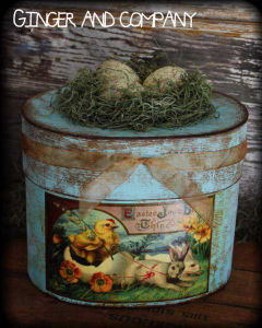 Vintage Easter Bunny Box Paint
