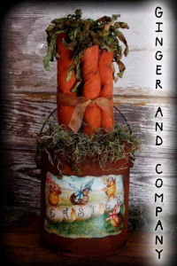 Grungy Easter Basket Paint Can & Carrots