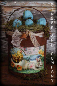Grungy Easter Basket Paint Can & Eggs