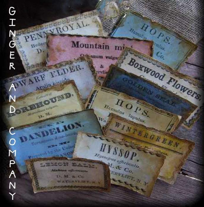 Vintage Herb Labels E-Labels Set of 12