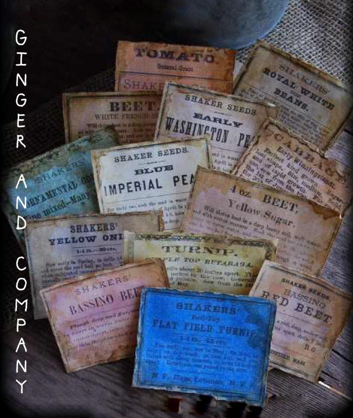 Vintage Seed Labels E-Labels Set of 13