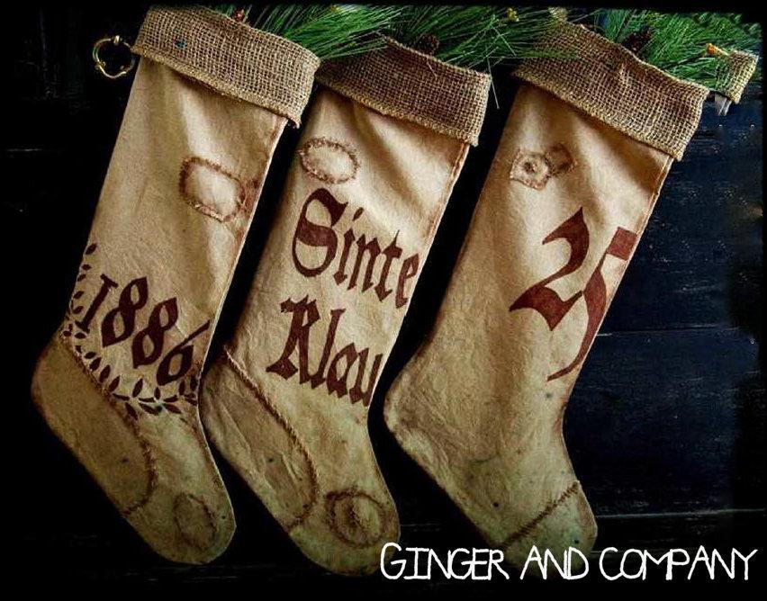 1886 Pennsylvania Dutch Grain Sack Stockings