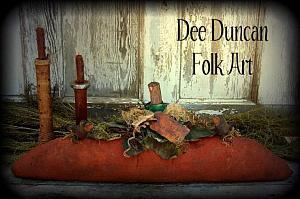 Folk Style Skinny Pumpkin & Crows Mantle Sitter