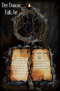 Witch Spell Book, Pentagram, Crow & Grungy Tea-Lite