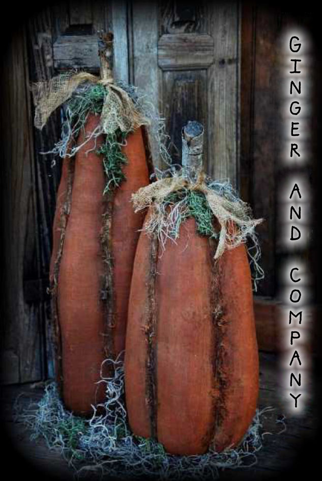 Folk Style Skinny Rag Pumpkins