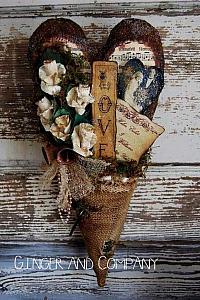 Vintage Valentine Burlap Heart Hanger