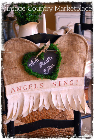 "Vintage Burlap Angel Wings Chair Toppers- ""When Hearts Listen Angels Sing"""