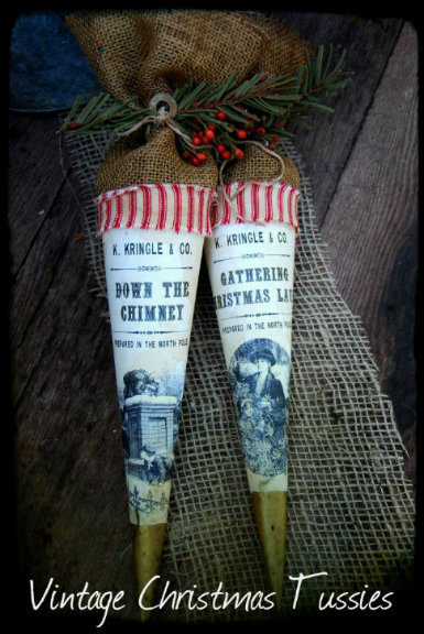 1800's Vintage Christmas Tussie Gathering Christmas Laurel & Down The Chimney