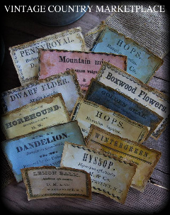 Vintage Herb Labels E-Labels Set of 12