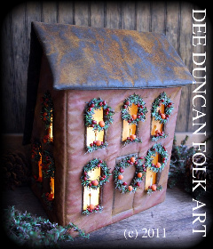 New England Salt Box Christmas House Luminare